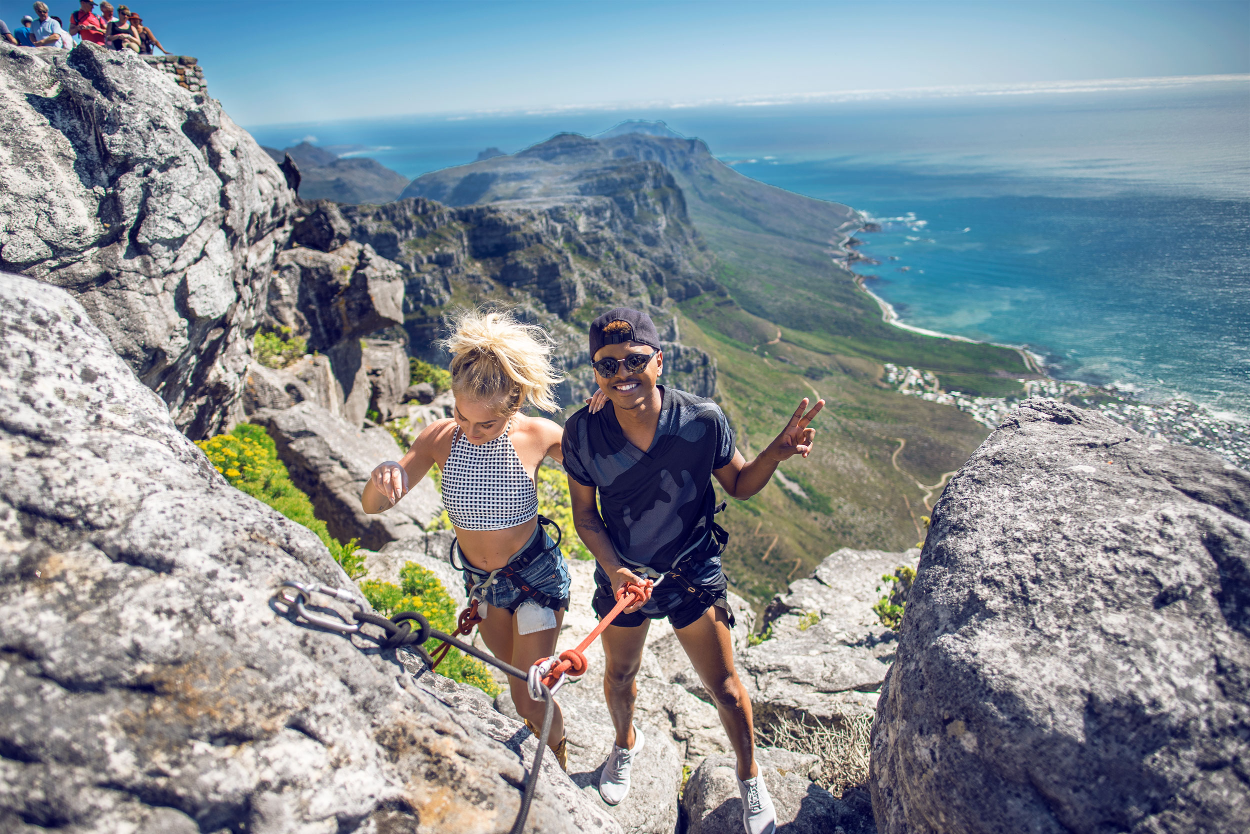Absailing down Table Mountain